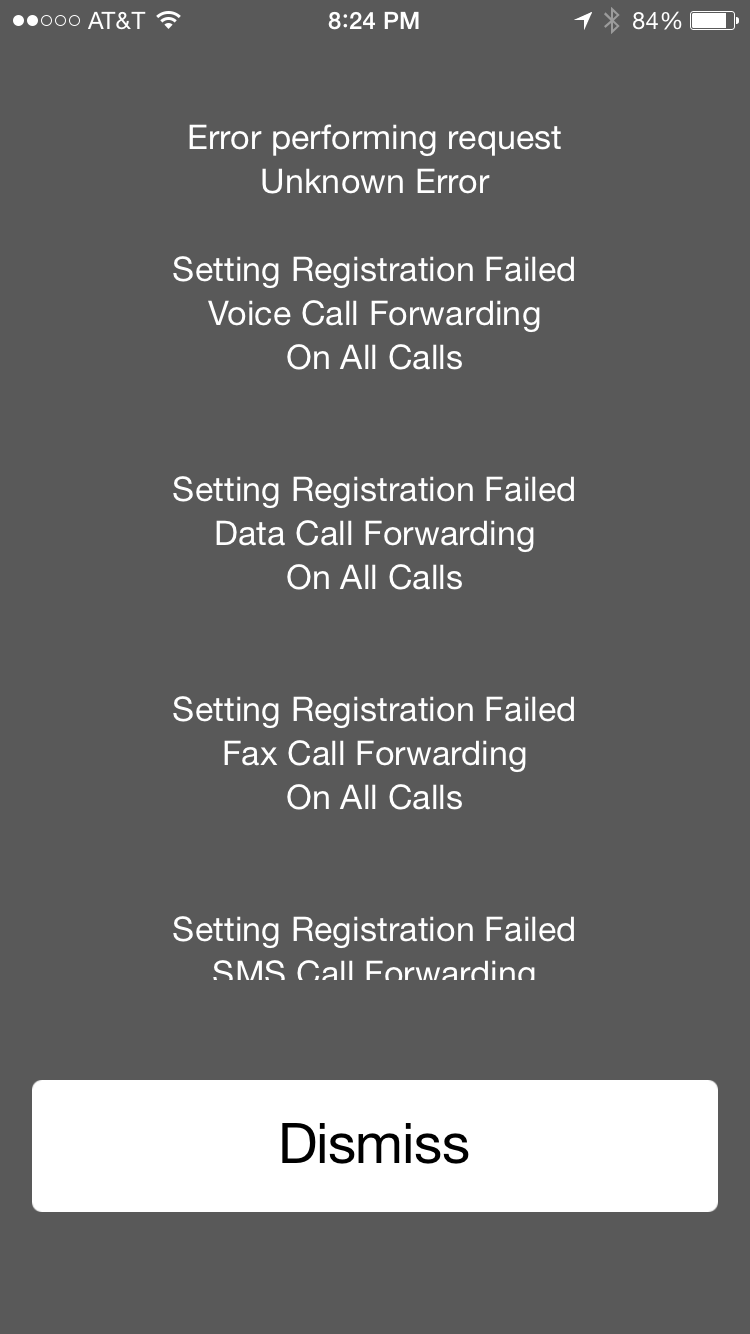 Error Performing Request Unknown Error Setting Registration Failed Voice  Call Forwarding On All Calls Setting Activation