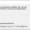 "Click the ""Browse ..."" button and browse to to C:\AMD\Radeon-Crimson-15.11-Win10-64Bit\Packages\Drivers\Display\WT6A_INF then click the OK button"